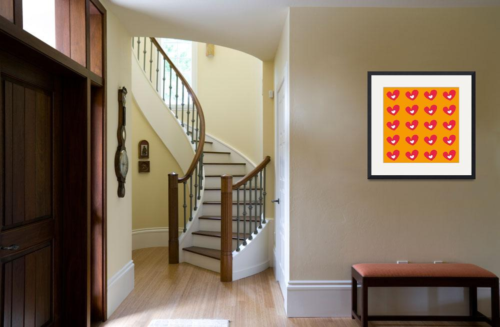 """""""Red Hearts On Orange&quot  (2014) by KWGart"""