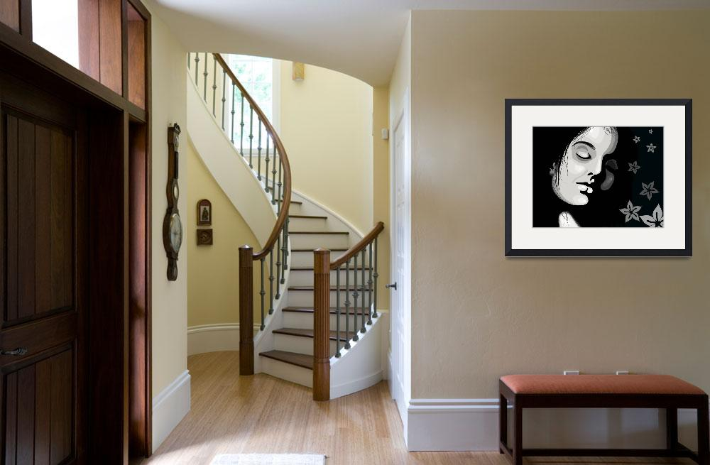 """""""Girl in black and white&quot  (2009) by digitalpainting"""