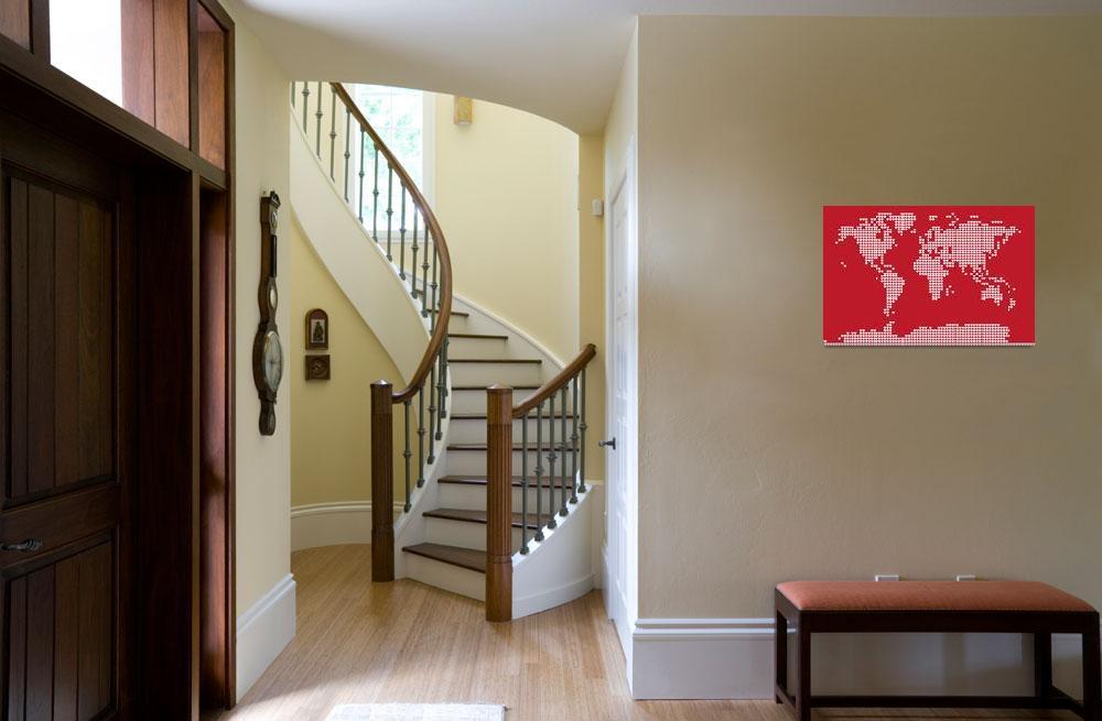 """""""World Map Love Hearts""""  (2011) by ModernArtPrints"""