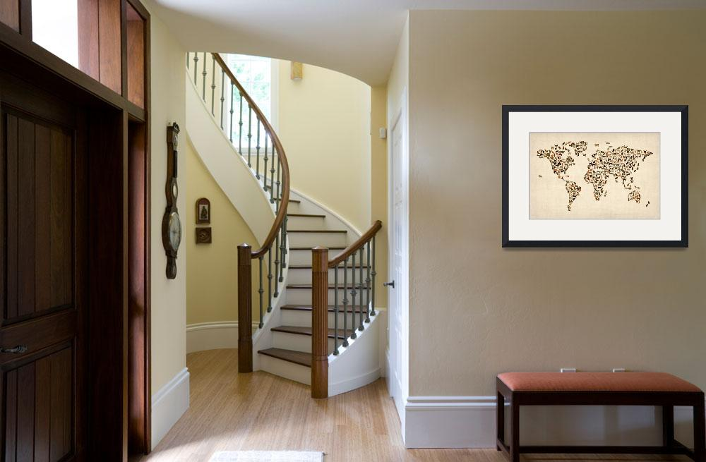 """Cats Map of the World Map&quot  (2012) by ModernArtPrints"