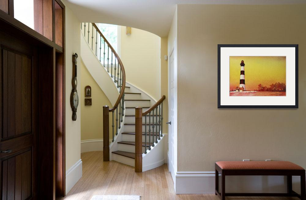 """""""Watercolor painting of Bodie Island lighthouse&quot  (2015) by RFoxWatercolors"""
