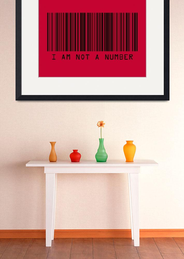 """""""Barcode I Am Not A Number in Red&quot  (2009) by ModernArtPrints"""