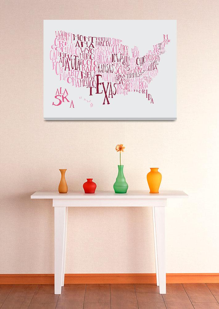"""Bubble Gum US Typography Map""  by circleart"