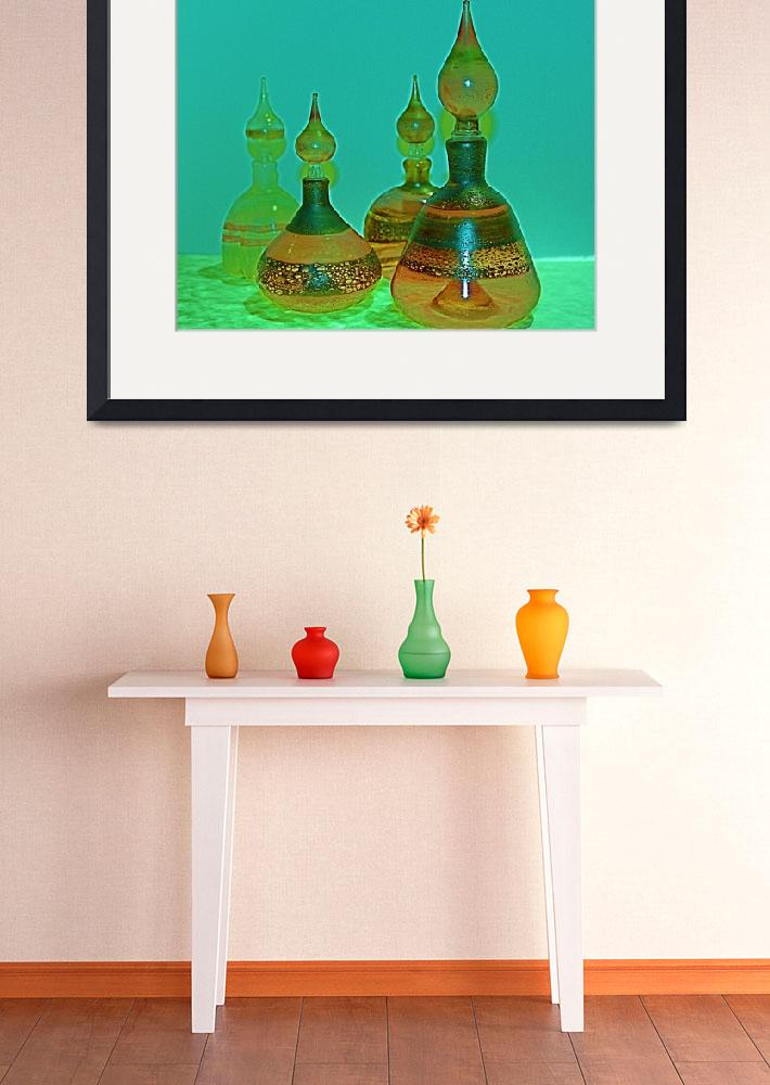"""""""Glass Perfume Bottles - green/yellow&quot  (2008) by yvonneayoub"""