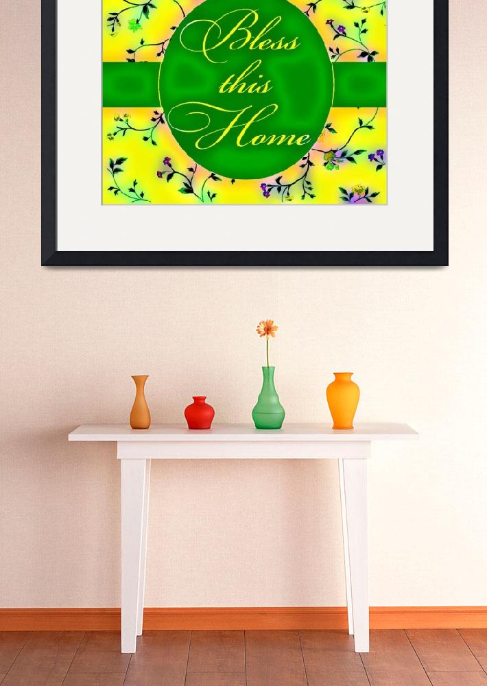 """""""bless this home vibrant green and yellow&quot  by lizmix"""