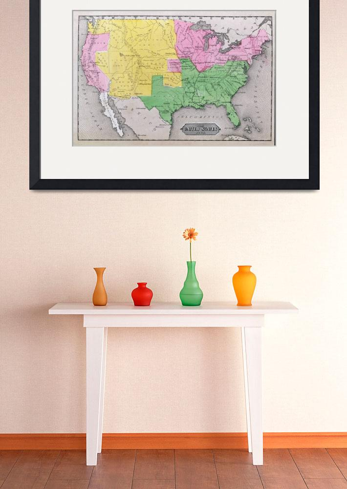 """""""Map of the United States in 1861&quot  by fineartmasters"""