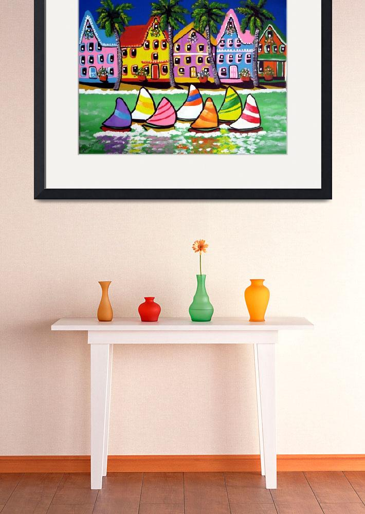 """""""Tropical Houses and Sailboats&quot  by reniebritenbucher"""