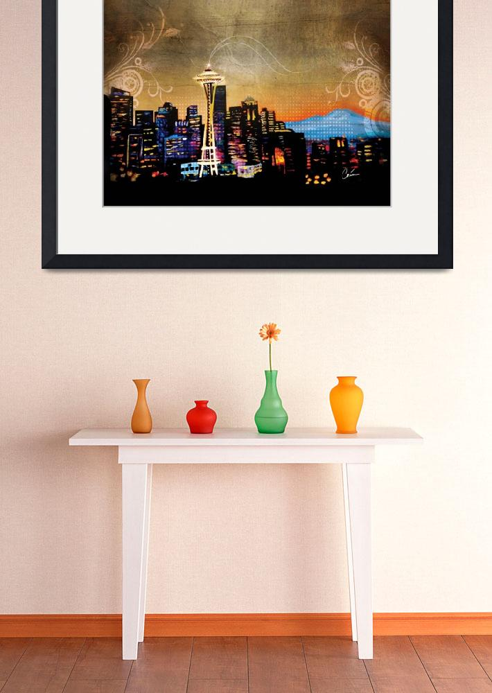 """""""Seattle Skyline&quot  (2013) by Corinagallery"""