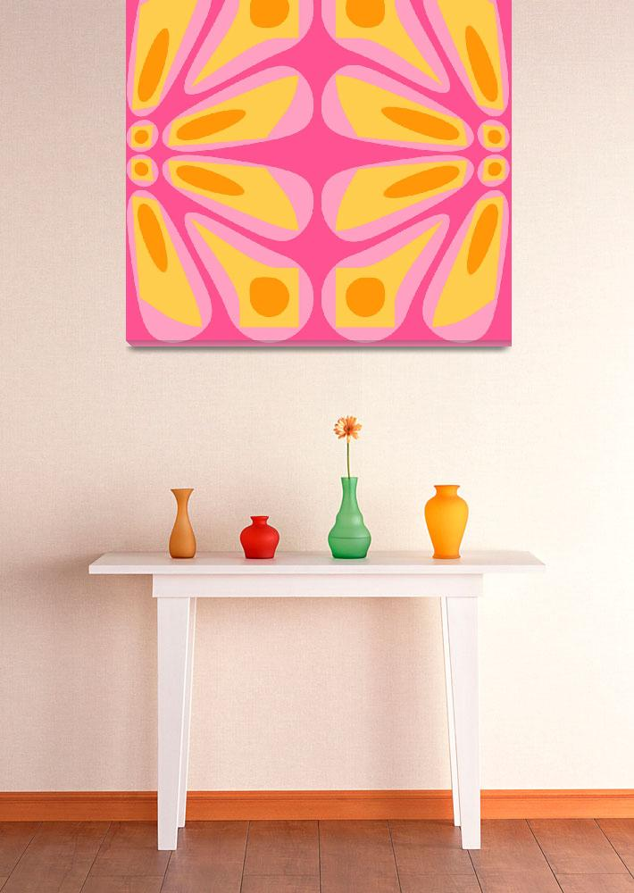 """Pink Yellow Orange Retro III&quot  (2009) by RuthPalmer"