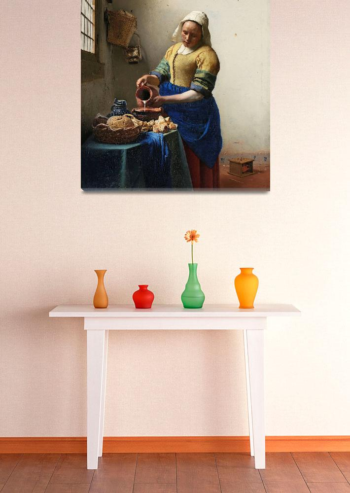 """""""The Milkmaid (ca. 1660) by Johannes Vermeer""""  by FineArtClassics"""