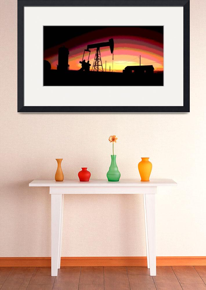 """""""Oil Well Pump Station-Oil Gas Industry-Framed&quot  (2016) by Tulsa1000"""