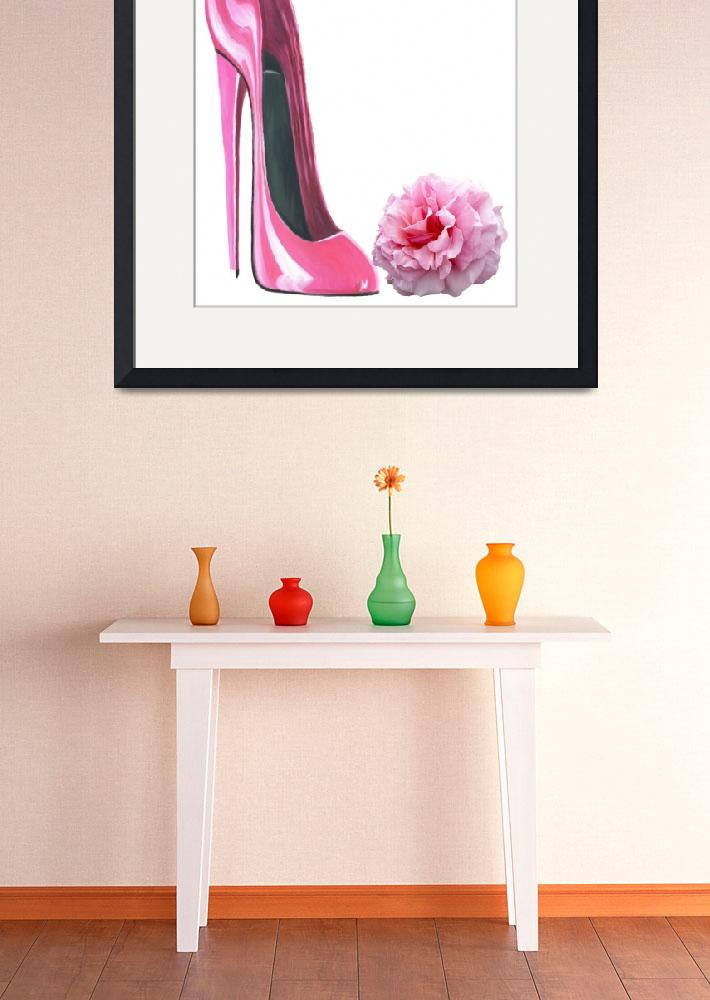 """""""Pink Stiletto Shoe and Rose Art""""  (2012) by carolekeen"""