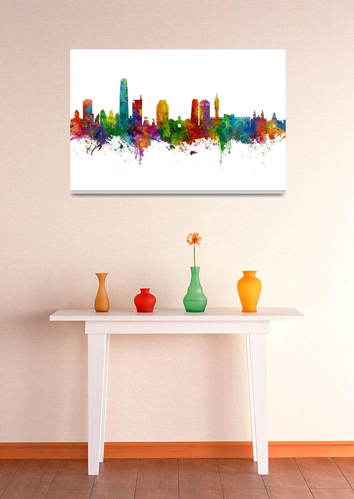 """Santiago de Chile Skyline""  (2019) by ModernArtPrints"