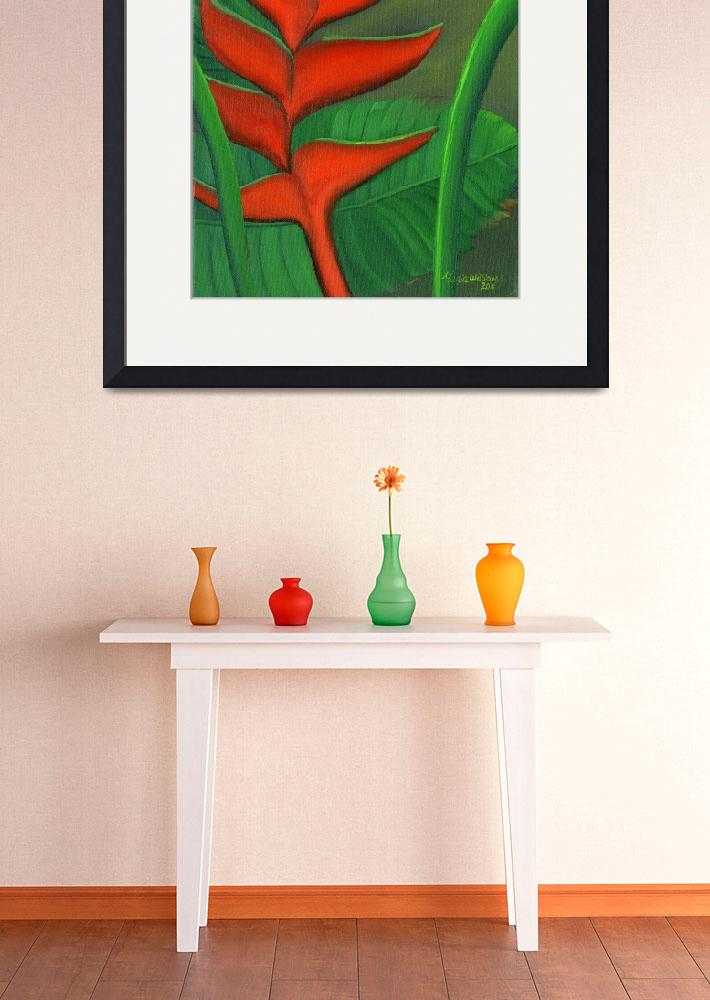 """""""Tropical Beauty - Red and Green Heliconia&quot  (2011) by mariawilliams"""