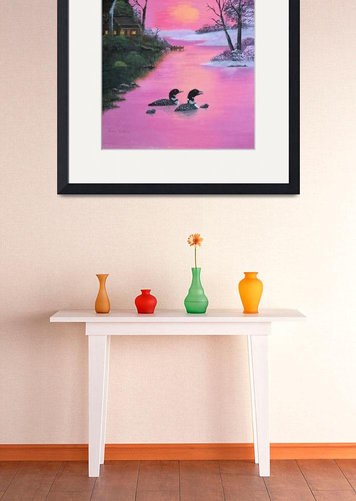 """loons in pink sunset&quot  (2007) by lesliecollins57"