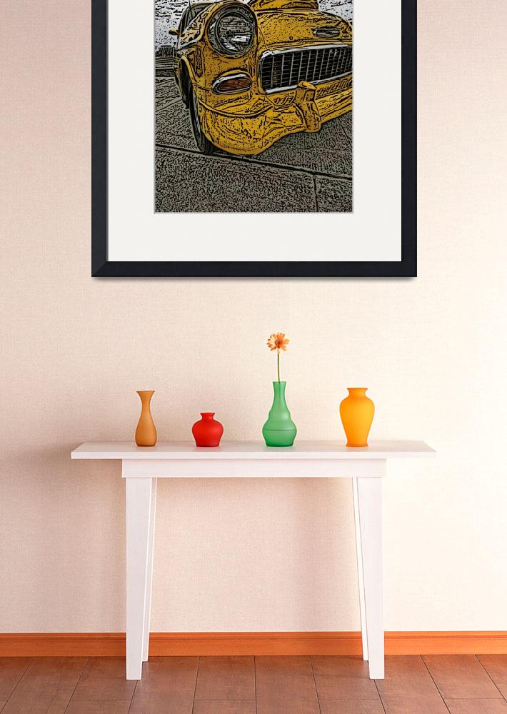 """""""IMG_4197_edited-1 bel air yellow woodcut&quot  by pi"""
