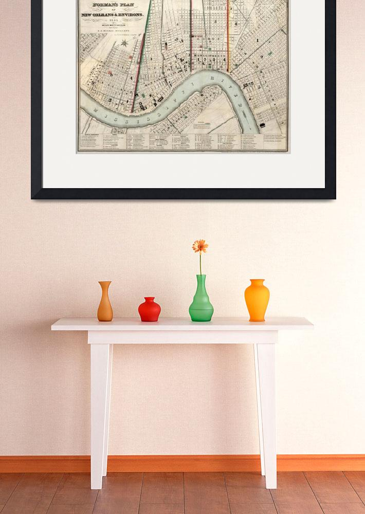 """Vintage Map of New Orleans Louisiana (1845)&quot  by Alleycatshirts"