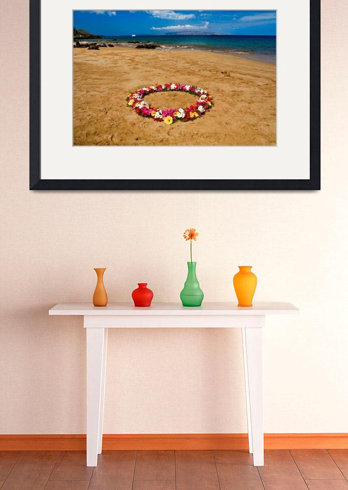 """""""Circle of flowers on the beach 18228&quot  (2015) by RJ"""