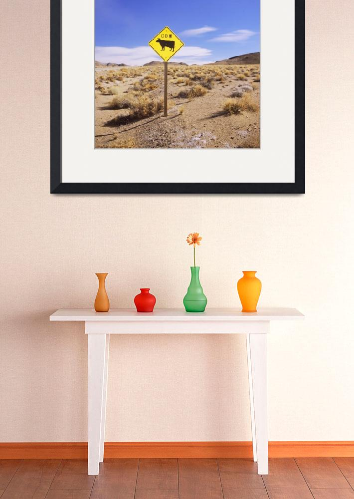 """Animal crossing sign at a road side in the desert&quot  by Panoramic_Images"
