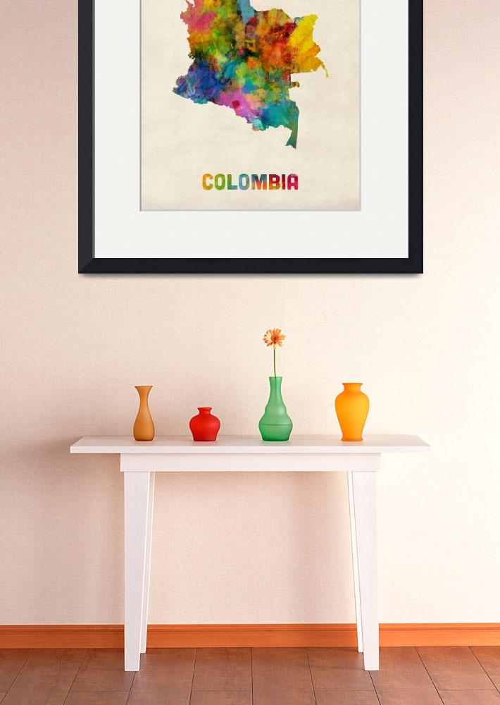 """""""Colombia Watercolor Map&quot  (2014) by ModernArtPrints"""