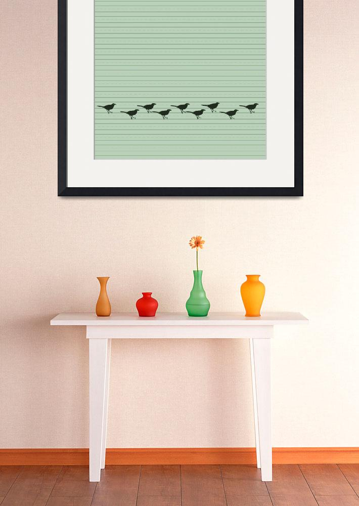 """Lime Lines Birds&quot  (2013) by jow"
