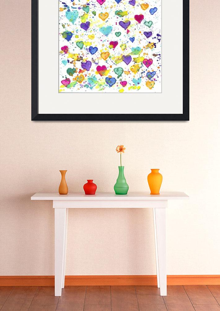 """""""Hearts with Colorful Paint Splatter&quot  (2017) by ValeriesGallery"""