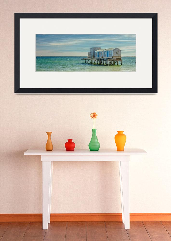"""House On The Beach With Lighthouse Panorama&quot  (2016) by Black_White_Photos"