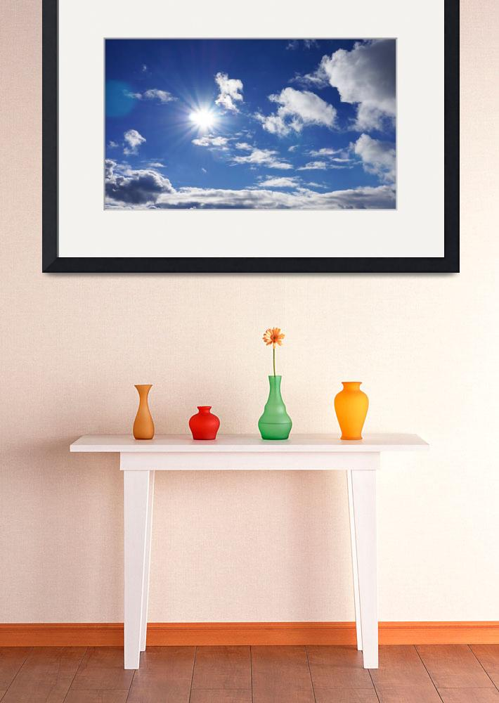 """""""Blue Sky White Fluffy Clouds Sunlit Skies Sunshine&quot  (2014) by BasleeTroutman"""