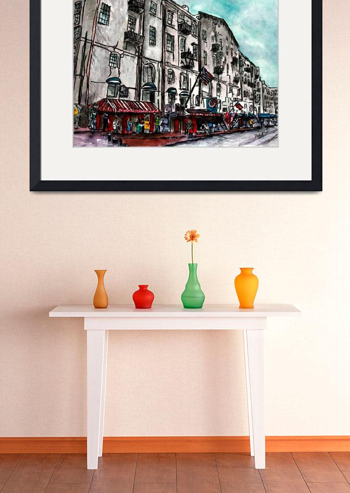 """Savannah Georgia River Street watercolour painting&quot  (2009) by derekmccrea"