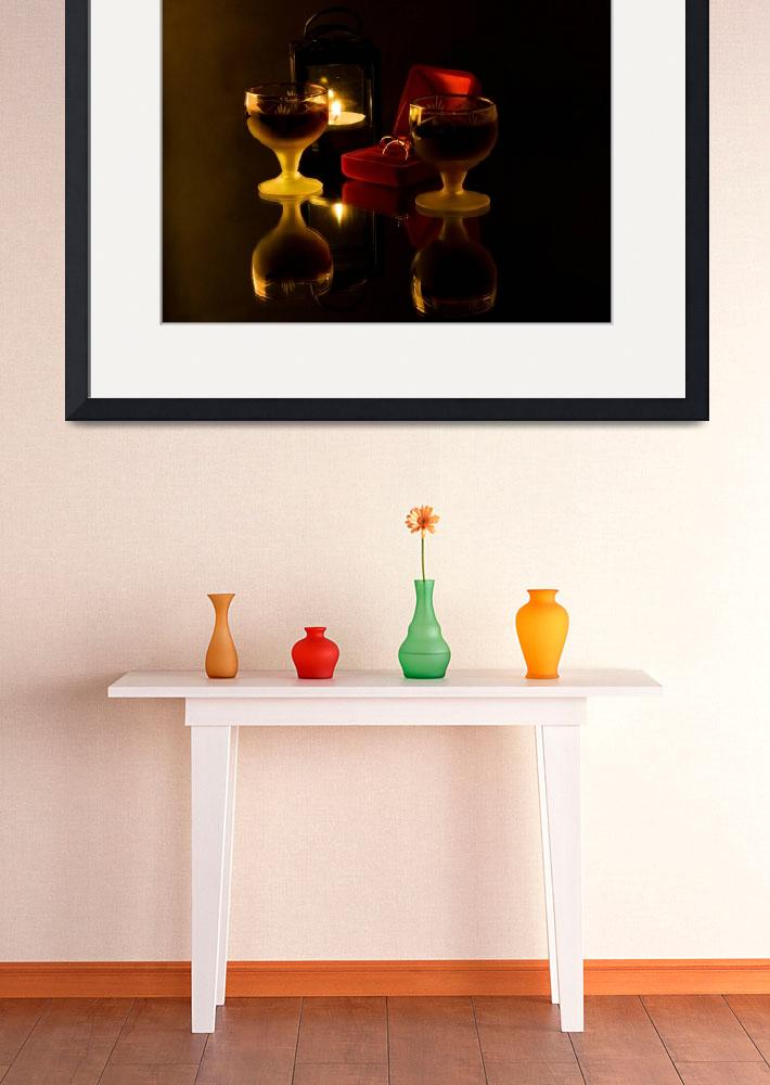 """""""Romantic still life with wineglass gold ring in re""""  by RomanPopov"""