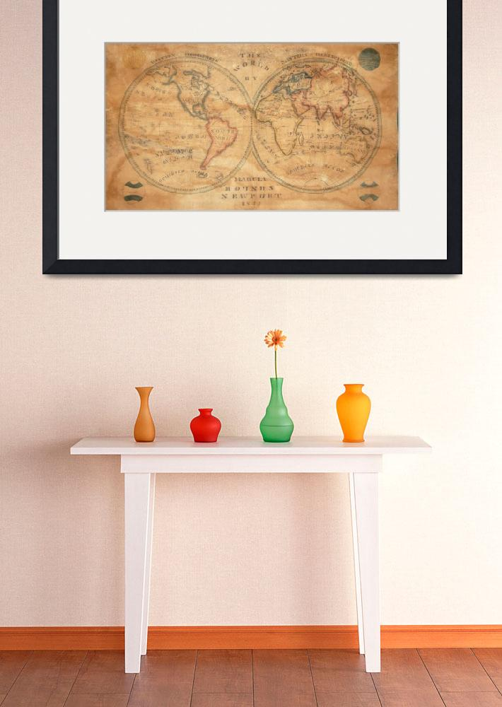 """Vintage Map of The World (1833) 2&quot  by Alleycatshirts"