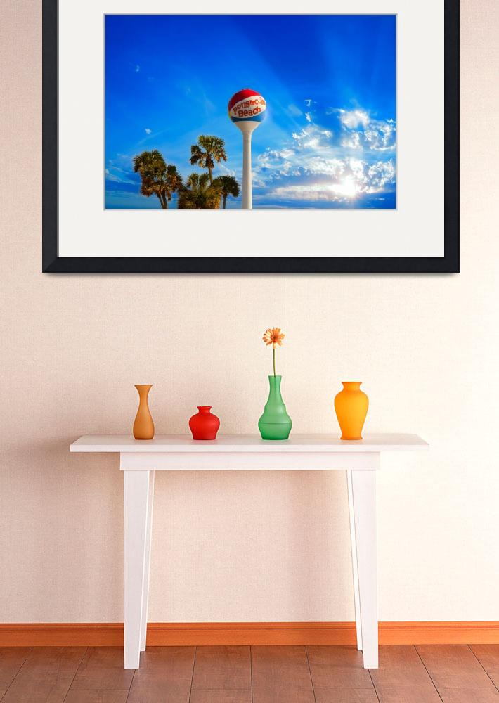 """""""Pensacola Beach Ball Water Tower and Palm Trees&quot  (2014) by eszra"""