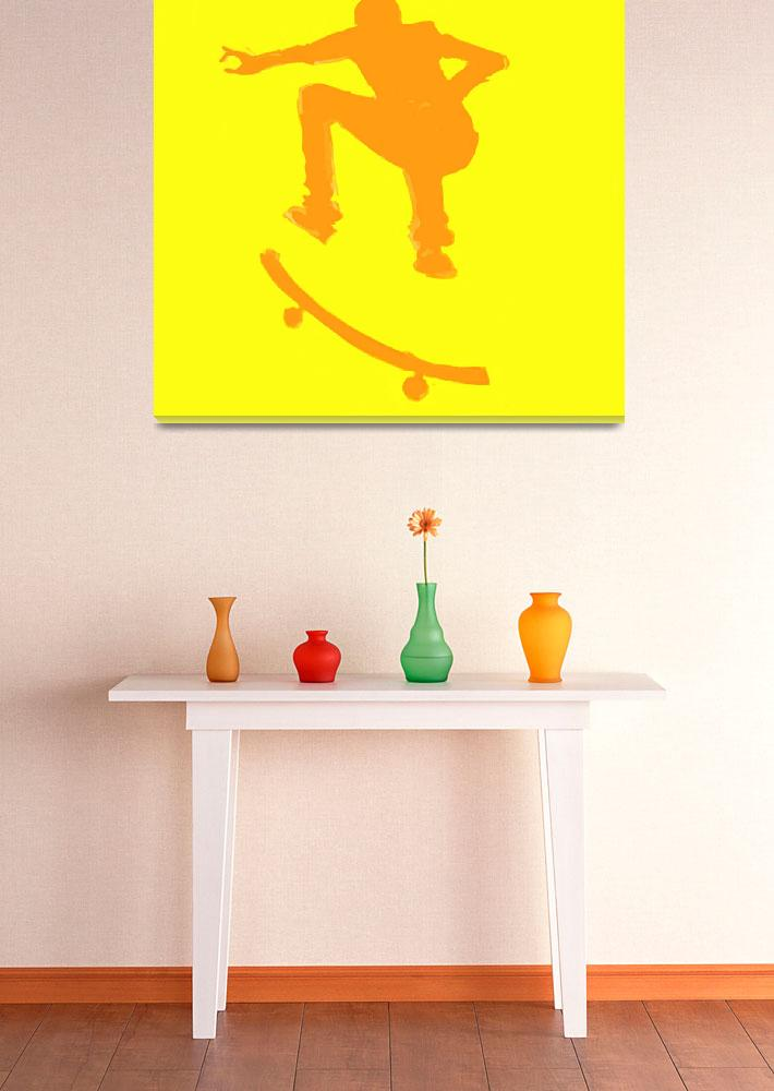 """Skateboarder 2 . yellow orange (c)&quot  (2014) by edmarion"