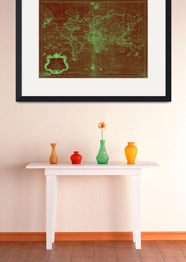 """""""World Map (1778) Red & Light Green&quot  by Alleycatshirts"""
