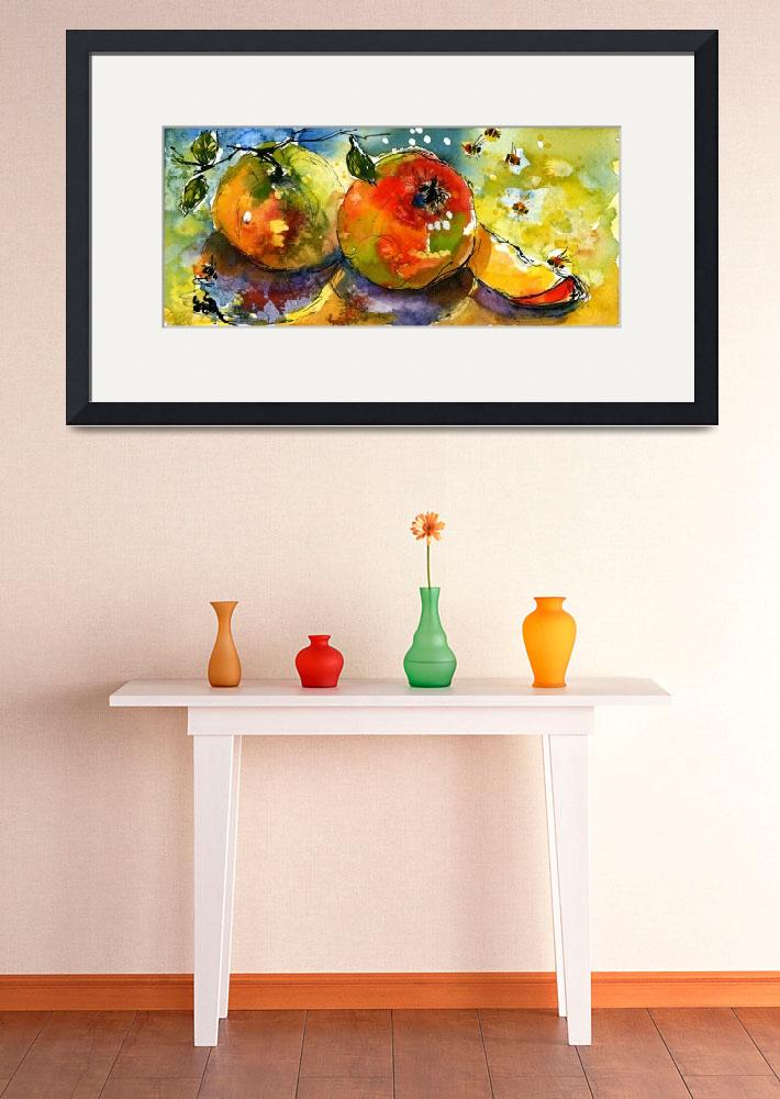 """""""Apples & Bees Watercolor painting by Ginette""""  (2004) by GinetteCallaway"""