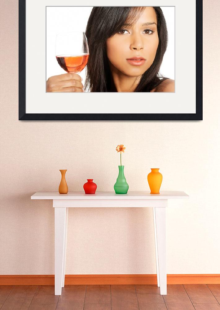 """""""Portrait of young happy beautiful woman with glass&quot  by Piotr_Marcinski"""
