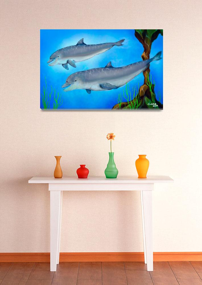 """""""Dolphins&quot  (2009) by ChrisLopezArt"""