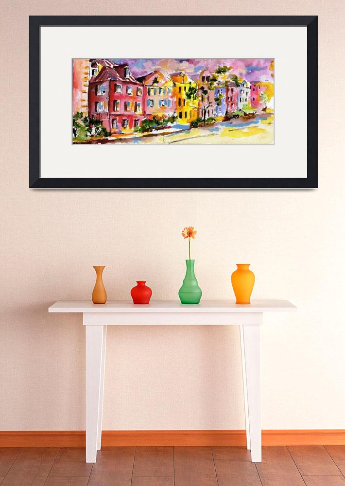 """Rainbow Row Charleston South Carolina Watercolor&quot  (2008) by GinetteCallaway"