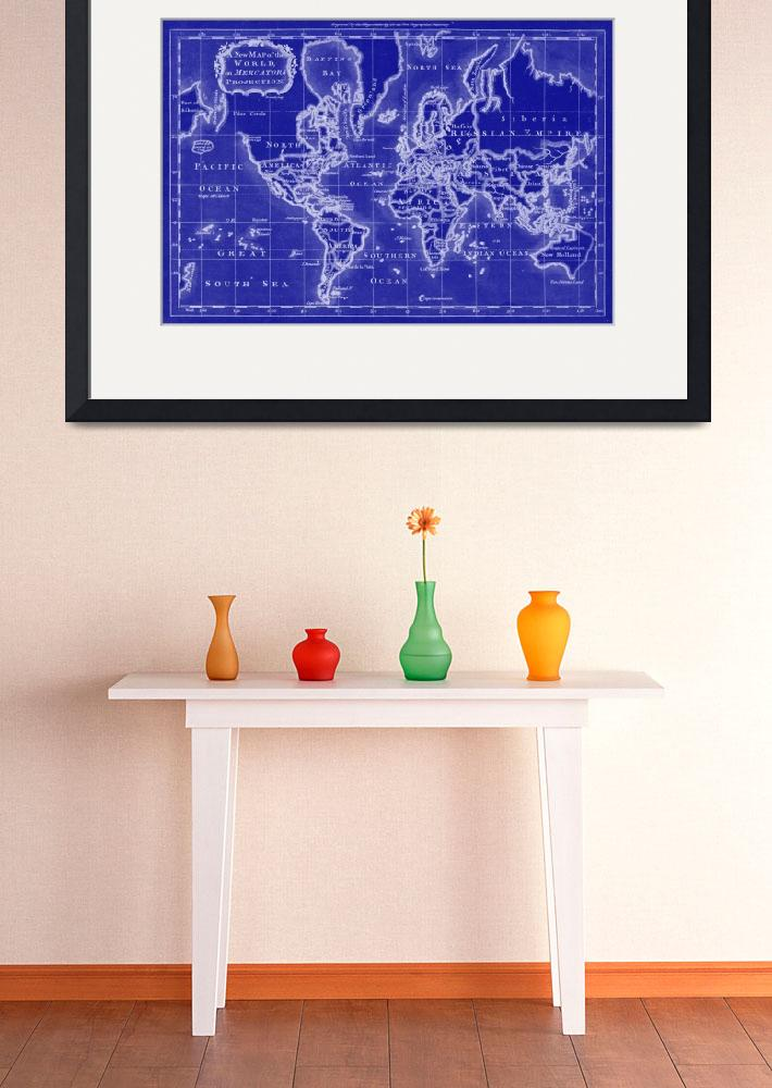 """""""World Map (1766) Blue & White""""  by Alleycatshirts"""