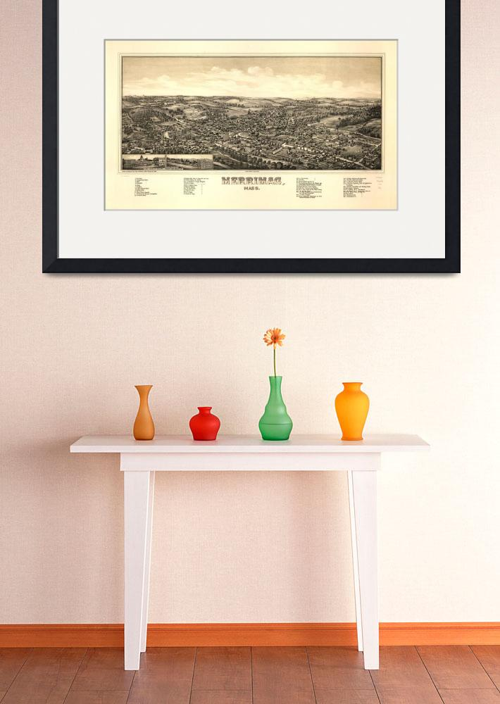 """""""1889 Merrimac, MA Birds Eye View Panoramic Map&quot  by PaperTimeMachine"""