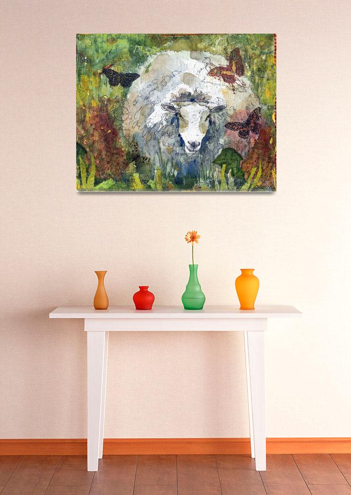 """""""Peaceful Pasture, Sheep Print&quot  (2012) by schulmanart"""