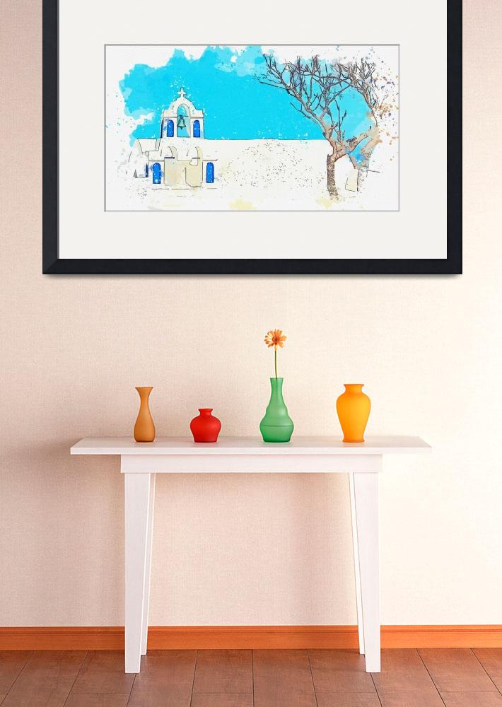 """""""Santorini Greece White Houses watercolor by Ahmet""""  by motionage"""