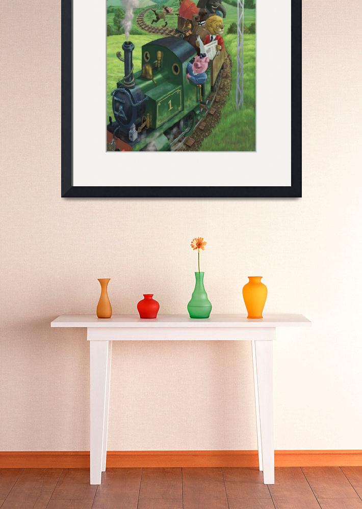 """Cartoon Animals on a day trip on a steam train&quot  by martindavey"