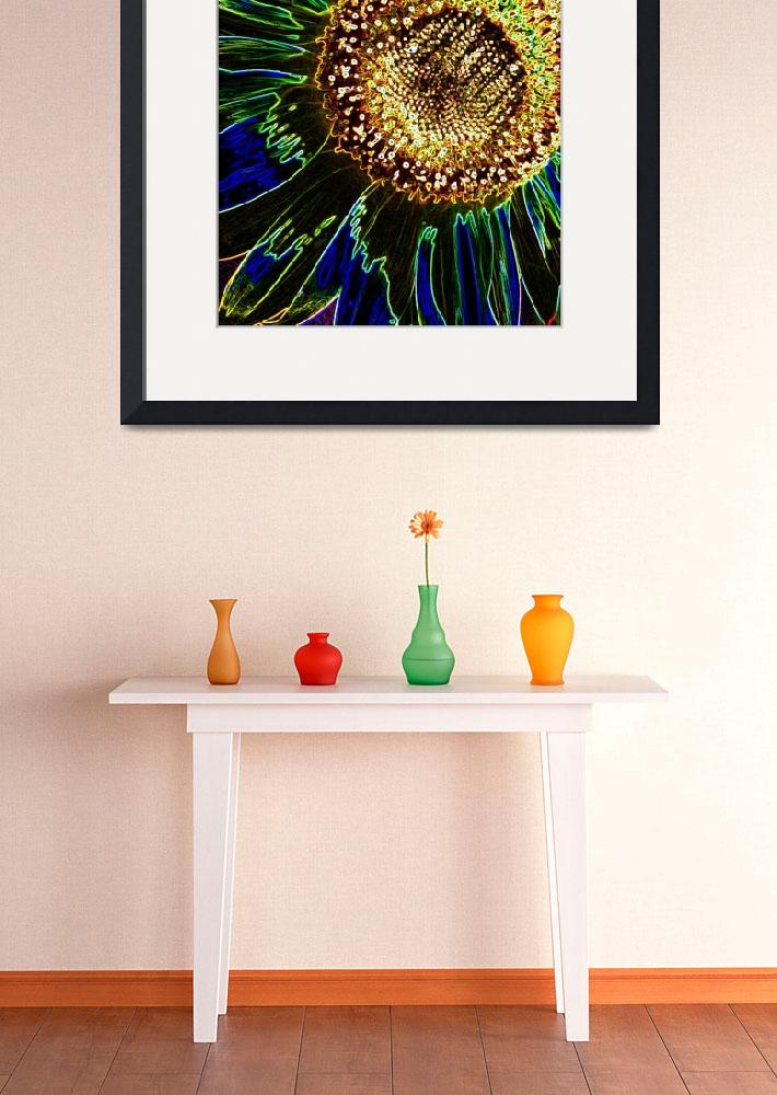 """""""Neon Sunflower&quot  (2010) by SandraGouldFord"""