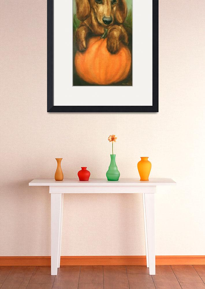 """""""Pick Me! Dachshund Puppy and a pumpkin by Violano&quot  (2011) by stella"""