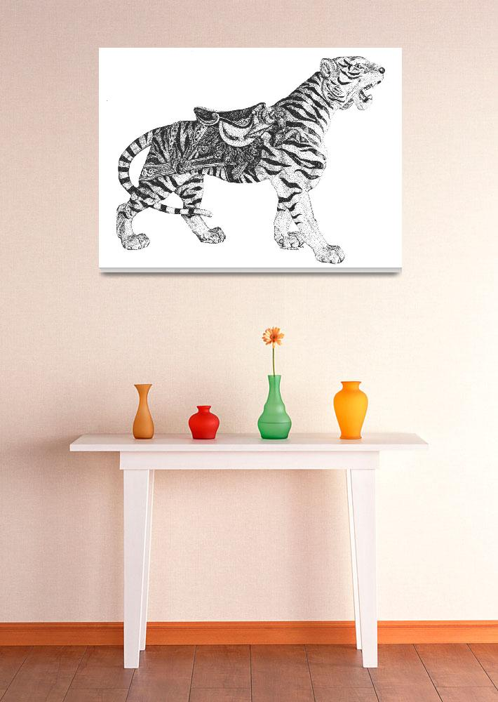 """""""Stipple Pen and Ink Carousel Tiger""""  (1993) by DulceDiane"""