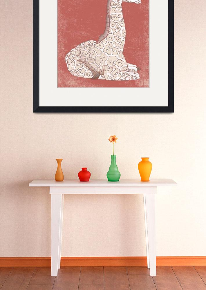 """""""Baby Giraffe in a Coral Color&quot  (2014) by Littlepig"""