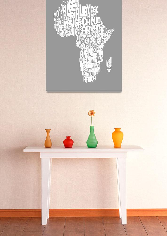 """Map of Africa Map Text Art""  (2012) by ModernArtPrints"