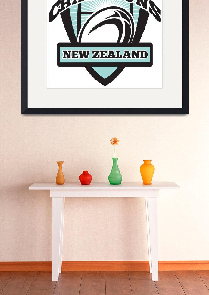 """""""Rugby ball New Zealand World Champions&quot  (2013) by patrimonio"""