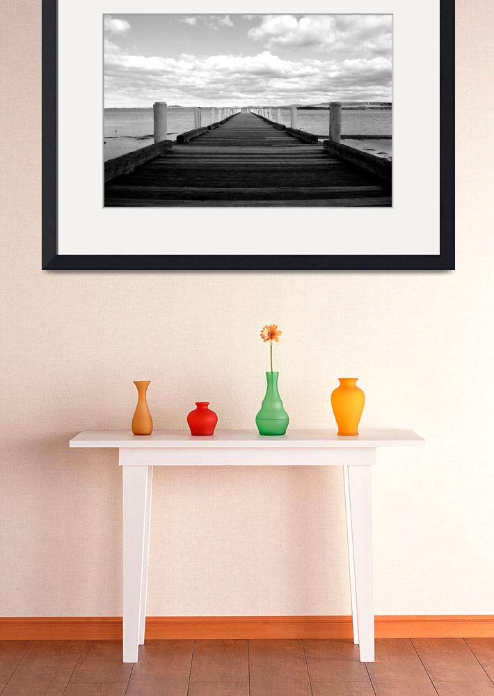 """""""Lake Illawarra Pier In Black And White&quot  (2017) by Rickophotography"""